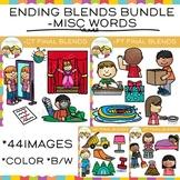 Ending Blends Clip Art Bundle: MP, CT, FT, PT Words