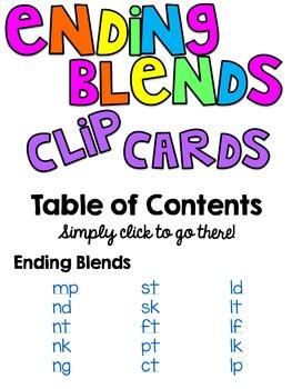 Ending Blends Clip Cards Bundle