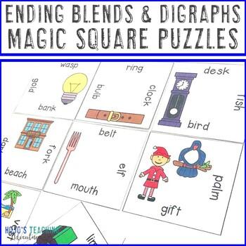 Ending Blends Digraphs Literacy Center Game