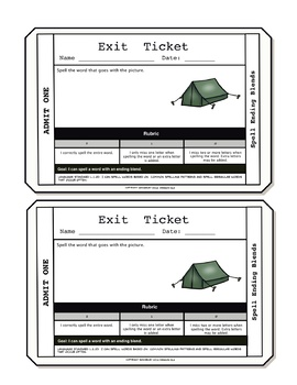 Spelling Words with Ending Blends Exit Tickets