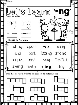 NG Digraphs Phonics Literacy Printables for Kindergarten and First Grade