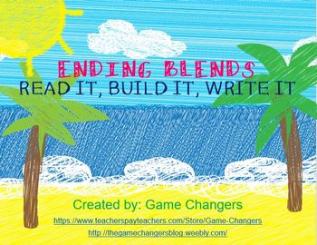 Ending Blends Practice and Word Work Summer Themed