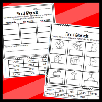 Final Blends Resources: Worksheets, Puzzles, Stories, and More!