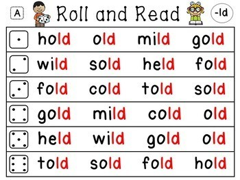 Ending Blends Roll and Read Reading Fluency Centers
