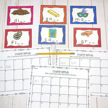 Ending Blends Task Cards by Adventures in Kinder and ...   Ending Blends Picture Cards Printable