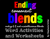 Ending Blends Variety Word Activities and Worksheets