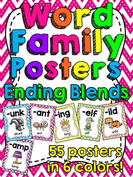 Ending Blends Word Families Posters