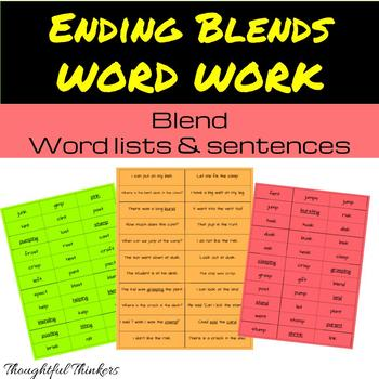 Ending Blends Word Work and Sentences