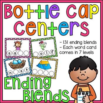 Ending Blends Words Bottle Cap Centers