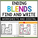Ending Consonant Blends Worksheets Kindergarten First Second Grade Phonics