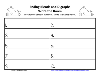 Ending Blends and Digraphs Ocean Friends Write the Room