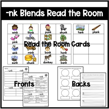 Ending Blends (-ink, -ank, -unk, -onk) Differentiated Read the Room