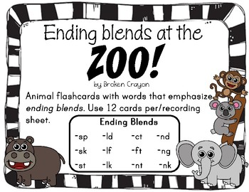 Ending Blends with Zoo Animals