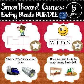 Ending Blends/CCVC Words BUNDLE of 5 Smartboard or Promethean Board Games!