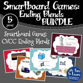 Ending Blends/CCVC Words BUNDLE of 5 Smartboard or Prometh