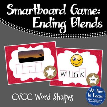 Ending Blends/CVCC Word Shapes Game for Smartboard or Prom