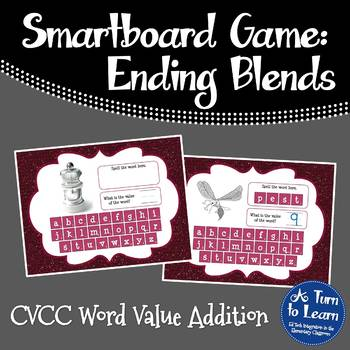 Ending Blends/CVCC Word Value Game for Smartboard or Prome