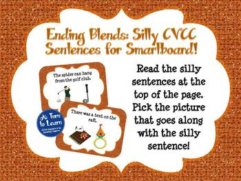 Ending Blends/CVCC Words in Silly Sentences for Smartboard/Promethean Board!