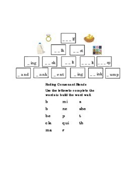 Ending Consonant Blends Build Word Wall LF LK SK ST ING ANK ENT INK UMP Reading