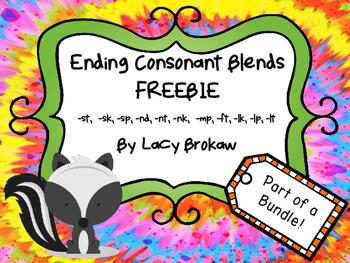 Ending Consonant Blends FREEBIE st, sk, sp, nd, nt, nk, mp, ft, lk, lp, lt