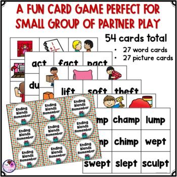 Ending Consonant Blends CT, FT, MP, PT and Short Vowels Memory Game