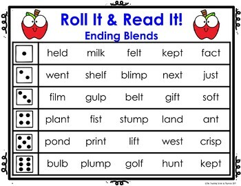 Ending Consonant Blends Centers & Activities