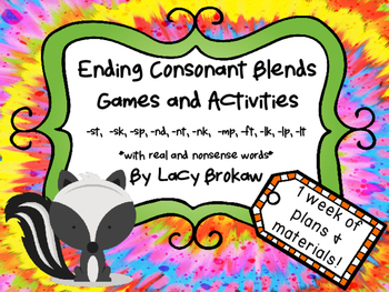 Ending Consonant Blends Games and Activites st, sk, sp, nd, nt, nk, mp, ft, lk,