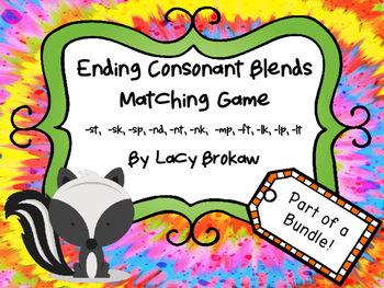 Ending Consonant Blends Matching Game st, sk, sp, nd, nt,