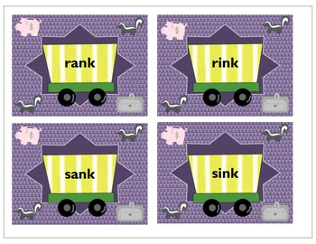 Ending Consonant Clusters - NK center, Activities and Skunk Me Game