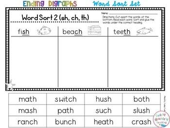 Ending Consonant Digraph Word Sort Set