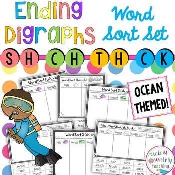 Ending Consonant Digraph Word Sort Set