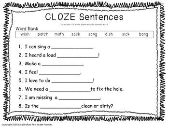 Ending Consonant Digraphs CLOZE sentences sh ch th ck ng