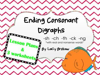 Ending Consonant Digraphs worksheets sh ch th ck ng