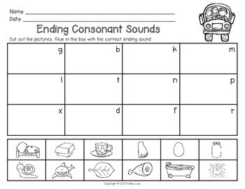 Ending Consonant Sounds Task Cards