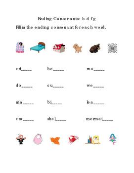 Ending Consonants Fill-in Letters B D F G ELA Reading Journal Supplement ELA 1pg