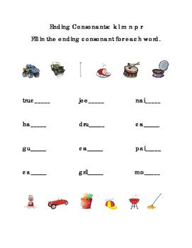 Ending Consonants Fill-in Letters K L M N P R ELA Reading Journal Supplement 1pg