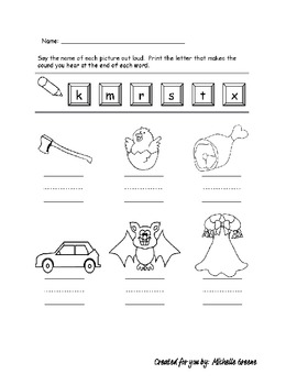 Ending Consonants Worksheet