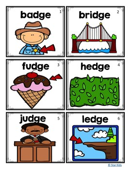 Ending Diagraphs Picture Cards for Kindergarten and First Grade