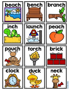 Ending Diagraphs Picture Cards for Small Pocket Charts for K-1