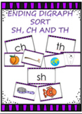 Digraph sort - Ending sounds: th, sh, ch