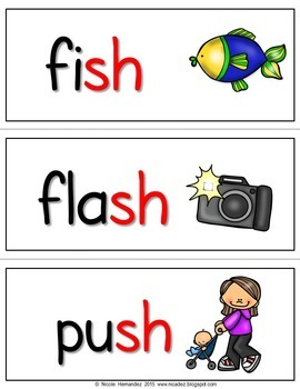 Ending Digraphs - {51 Illustrated Word Cards}