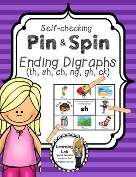 Ending Digraphs - Self-Checking Phonics Centers