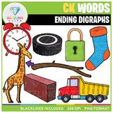 Ending Digraphs CK Words Clip Art