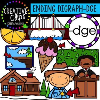 Ending Digraphs - DGE Words {Creative Clips Digital Clipart}