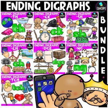 Ending Digraphs Mega Clip Art Bundle {Educlips Clipart}
