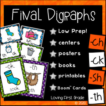 Ending Digraphs Pack [ch, ck, sh, & th] Centers & More!