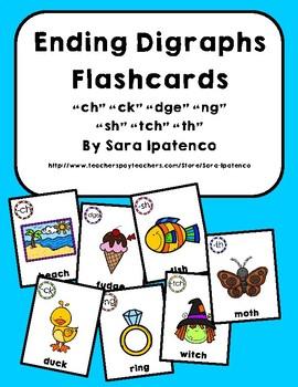 Ending Digraphs Phonics Flashcards Bundle