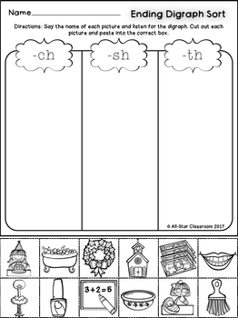 Ending Digraphs Picture Sorts
