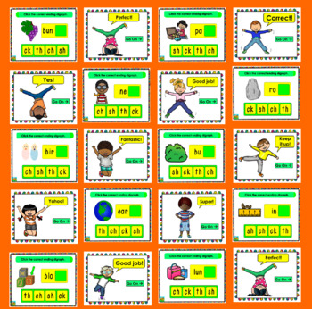 Ending Digraphs  PowerPoint Game!  40 Interactive Multiple Choice Slides