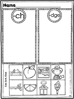 Kindergarten Ending Digraphs Practice (Sheets and Center Sorts)